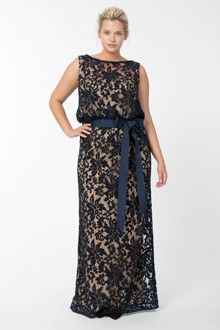 Embroidered Lace Blouson Gown in Navy / Nude - Evening Gowns - Plus Size Evening Shop Plus Size Party Dresses, Plus Size Gowns, Plus Size Outfits, Plus Size Evening Gown, Women's Evening Dresses, Formal Dresses, Formal Wear, Plus Size Formal, Look Plus Size
