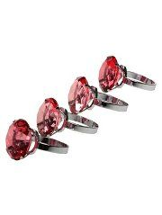 Premier Housewares Red Diamante & Chrome Finish Napkin Rings - 4 Pack