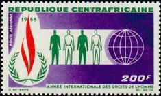 Stamp: International Year of Human Rights (Central African Republic) (Human Right) Mi:CF 156,Sn:CF C52,Yt:CF PA55