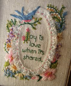 VINTAGE hand stitched Wall Hanging FRAMED by jennyelkins on Etsy, $8.75