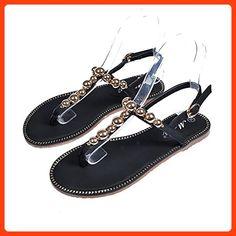 RUGAI-UE Flat Bottom Sandals Fashionable Flat Bottom Sandals Korean Style Metal Decorative Beach Shoes,Black,Thirty-Six