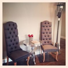 New grey high back dining chairs- perfect for lounge seating or sweetheart table!