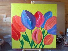 Canvas 50 bij 50 vrolijke tulpen