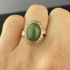 Vintage Gold Cabochon Jade Ring