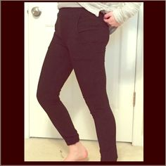 Brandy Melville pants Soft Brandy pants with elastic waist and cuffs at the ankles. Kind of like jogger pants but these are a little more snug. Says one size but fits like an xxs-s. Brandy Melville Pants