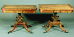 Antique pair of Regency rosewood card tables - Stock - Moxhams Antiques