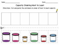Comparing Capacity Capacity Activities, Measurement Activities, Kindergarten Activities, Teaching Math, Math Stations, Math Centers, Writing Graphic Organizers, Math Manipulatives, Math Journals