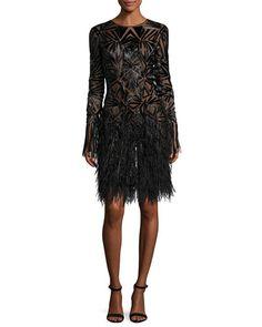 B3QXU Monique Lhuillier Beaded Long-Sleeve Feather-Skirt Dress, Black