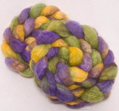 Hand dyed roving Kid mohair combed top BFL Hand dyed