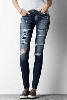 AEO Jegging in Medium Repair. The look & feel of timeworn, tried & true denim. #AEOSTYLE
