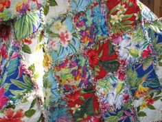 Rag Quilt Hawaiian Rag Lap Quilt Handmade by BermudaStreetQuilts at Etsy.com