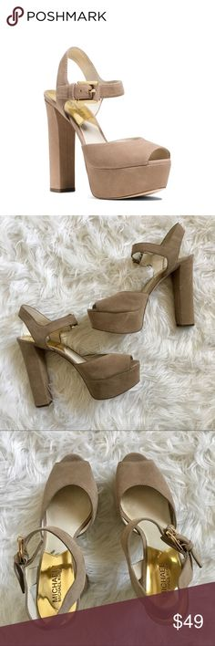 MICHAEL KORS NUDE PEEP TOE HEEL PLATFORM STILETTO This nude suede heel is perfect for any night out! This chunky block heel delivers major style. Gold buckle embellishment with peep toe detail. Size 9.5 Michael Kors. Pair this with a cute skater dress or a midi full skirt! Michael Kors Shoes Platforms