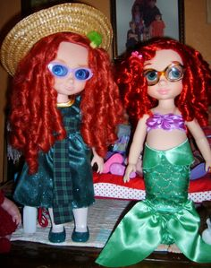 """These Disney Animator's Collection dolls can wear glasses made for 18"""" dolls.  Ariel's hair can really hold a curl!"""