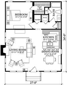 1 Bedroom House Plans, Cottage Style House Plans, Cottage Plan, Tiny House Cabin, Tiny House Living, Br House, Sims House, Small House Floor Plans, Apartment Floor Plans