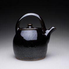 handmade teapot tea kettle with black tenmoku by rmoralespottery