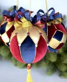"""New Year 2019 handmade. Set of Christmas balls """"Harlequin"""". Quilted Christmas Ornaments, Fabric Ornaments, Christmas Art, Christmas Themes, Christmas Tree Decorations, Christmas Tree Ornaments, Handmade Christmas, Xmas, Homemade Ornaments"""