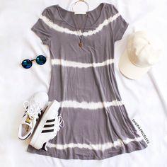Shawna Tie-Dye Dress - Gray