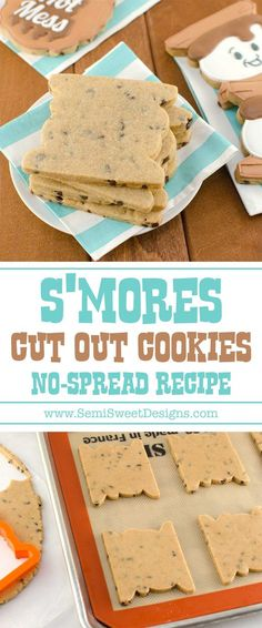 This s'mores cut-out cookie recipe is perfect for summer time decorated cookies. It has a chocolate chip, honey graham cracker base, with marshmallow flavored icing.
