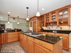 Country Kitchen with Stone Tile, Limestone Tile, Oregon Tile & Marble Arabian Black, Pendant light, flush light, U-shaped
