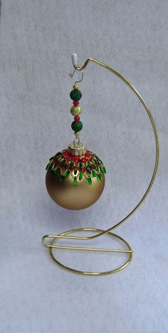 Beaded Ornament Cover with Custom Hanger by TheHappyHook on Etsy, $15.00