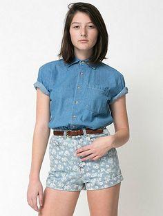 Unisex Denim Short Sleeve Button-Up With Pocket
