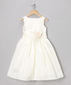 Kids Dream Ivory Lattice Rose Dress - Toddler & Girls | zulily