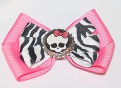 Pink with Black and White Zebra Monster High Hair Bow by bowsforme, $6.99
