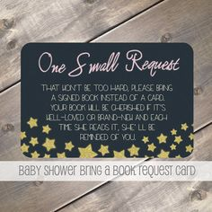Twinkle Star Theme Bring a Book Instead of a Card, Baby Shower Invitation Insert, Glitter Baby Shower Ideas, Build a Library Book Request Card, Gold & Navy by EvergreenandWillow, $11.00