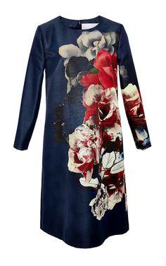Flower Bouquet Faille A-Line Dress by Carolina Herrera for Preorder on Moda Operandi