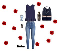 """""""Navy rose"""" by delaineyreome ❤ liked on Polyvore featuring Diane Von Furstenberg, Casetify, Mother of Pearl, Charlotte Olympia and adidas Originals"""