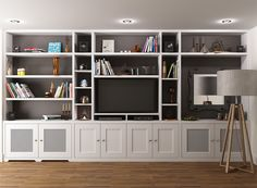 I like the middle section of this unit with the cupboards below - check dimensions.