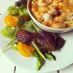 Another Rachel Khoo creation: Mac 'n cheese (made with mature cumin Gouda  bought in Amsterdam) with a tomato and mustard leaf salad.