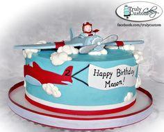 simple banner plane cake