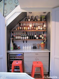 I would decorate this totally differently, but closet wine bar. Looks like it would be perfect in an awkward under-the-stair closet. Shelves with the bottles. Cabinet for the glasses. Stools. Mini-fridge
