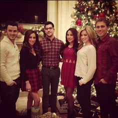 Kevin, danielle, mikey, katie, dina and brian Danielle Jonas, Nick Jonas, Jonas Brothers, Bridesmaid Dresses, Wedding Dresses, Christmas Photos, Christmas Sweaters, Celebrities, Instagram Christmas