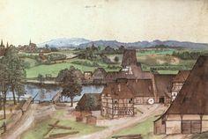 DÜRER, Albrecht The Wire-drawing Mill c. 1489 Watercolour and gouache on paper, 286 x 426 mm Staatliche Museen, Berlin