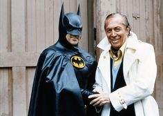 Bob Kane, one of Batman's creators, and Michael Keaton, star of the Tim Burton Batman movies. One of the rarer pictures of the two together, probably taken during the filming of Batman Returns. Classic!