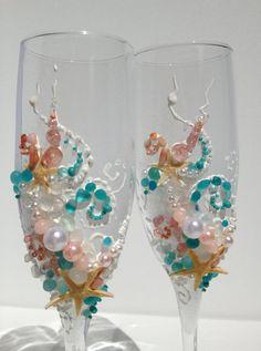 Bicchieri di champagne nozze spiaggia tostatura di PureBeautyArt