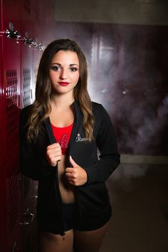 Detroit Lakes Laker dancer high school senior portrait in girls locker room with softbox, fog and red lipstick | Amber Langerud Photography | www.AmberLangerud.com