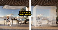 Mosquito net canopy that rotates from cube to baldachin. By Movisi.