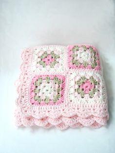 Pink Crochet Baby Blanket Newborn Blanket Photo prop