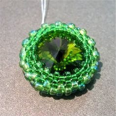 Swarovski Rivoli with Peyote Stitch Bezel