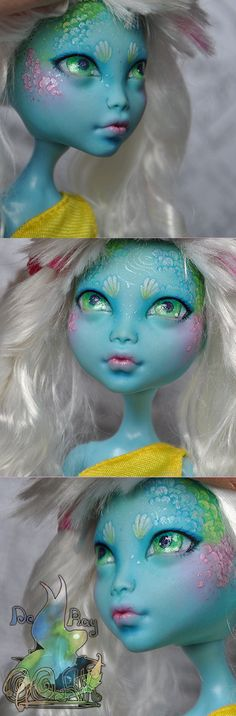 Layema Monster High 13 Wishes Lagoona Blue OOAK Custom Monster High Dolls, Monster High Repaint, Custom Dolls, Doll Painting, Cute Plush, Doll Repaint, Ooak Dolls, Ball Jointed Dolls, Doll Face