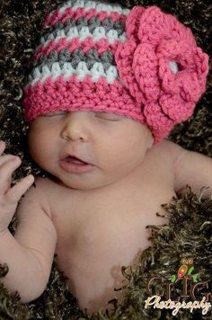 Crochet Baby Beanie with Flower by Adorably Hooked