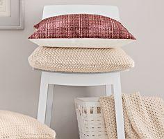 Pletený potah na dekorační polštářek