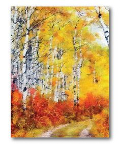 Loving this Birch Tree Country Road Wall Art on #zulily! #zulilyfinds