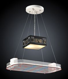 Bring the excitement of Canada's favorite pasttime into your home with the 2 Novelty 2 Light Hockey Rink Pendant by ELK Lighting. Fixture features a chrome finish and uses two medium bulbs. Bloody brawl not included. Boys Hockey Room, Hockey Man Cave, Hockey Bedroom, Hockey Baby, Hockey Nursery, Elk Lighting, Pendant Lighting, Light Pendant, Rustic Lighting