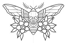 Flower Tattoo Drawings, Tattoo Design Drawings, Tattoo Designs, Tattoo Stencils, Tattoo Flash, Outlines, Pyrography, Line Art, Insects