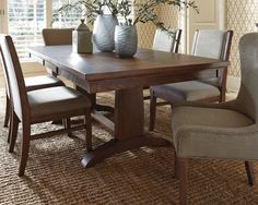 Medium Brown Mardinny Dining Room Table View 1