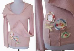 Asymmetric Collar Floral  Sweater M by RebeccasArtCloset on Etsy